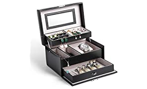Jewellery Box, Homever Jewellery Boxes for Women and Girls, The Best Gift to Grandma, Mom, Girlfriend or Daughter (Classical Black)