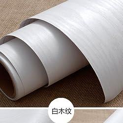 YUELA Papel tapiz de auto-adhesivo_madera blanca adhesivo PVC autoadhesivo de color sólido armario de papel tapiz de pared gruesa, con lámina impermeable blanco de grano de madera de 40 cm de ancho x 5 m
