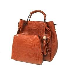 [Sponsored]Di Grazia Women's 2 In 1 Combo Of Satchel Handbag & Shoulder Sling Bag With Tassel Charm(Tan Brown, Brown-2in1...