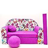 M33 Minicouch Kindersofa Baby Sofa Set Sitzkissen Matratze (M33 pink Schmetterlinge)