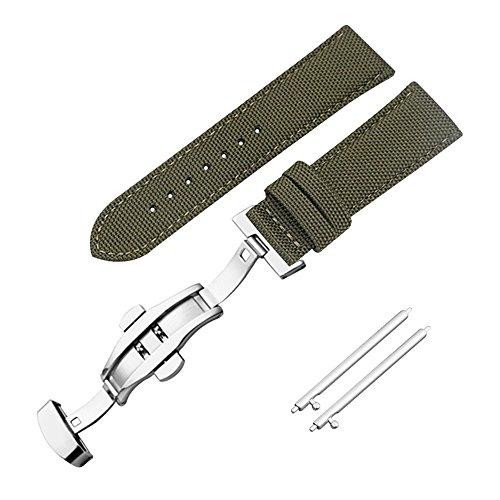 AUTULET Herren Nylon Armband Armeegrün 22mm - Band Uhr Leder Canvas