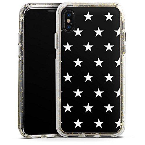 Apple iPhone X Bumper Hülle Bumper Case Glitzer Hülle Sternchen Muster Pattern Bumper Case Glitzer gold