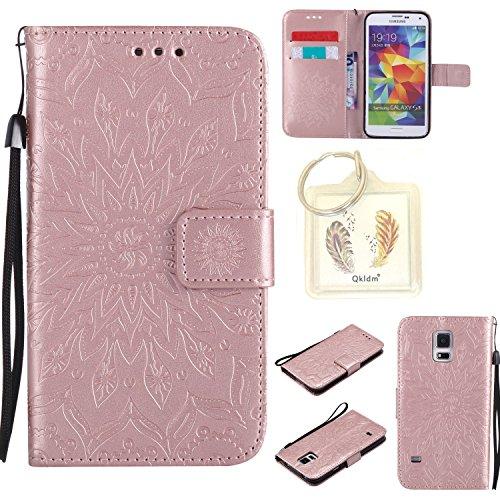 Preisvergleich Produktbild für Samsung Galaxy S5 / S5 Neo Geprägte Muster Handy PU Leder Silikon Schutzhülle Handy case Book Style Portemonnaie Design für Samsung Galaxy S5 (i9600) + Schlüsselanhänger/*17 (4)
