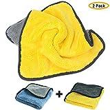 Paños del coche, 840GSM Bayeta de Limpieza de Microfibra Trapos, Doble Capa de Pulido Secado Cera Detailing Paños para Cocina y Coche Limpieza, 30x40cm (paquete de 2)