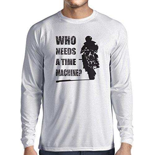 lepni.me T-Shirt Manica Lunga da Uomo Abbigliamento Moto (Small Bianco Multicolore)
