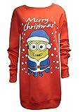 Frauen-Dame Weihnachten Neuheit Minion/Olaf Print Weihnachten Sweatshirt Jumper (UK 8-12, Minion Baggy ROT)