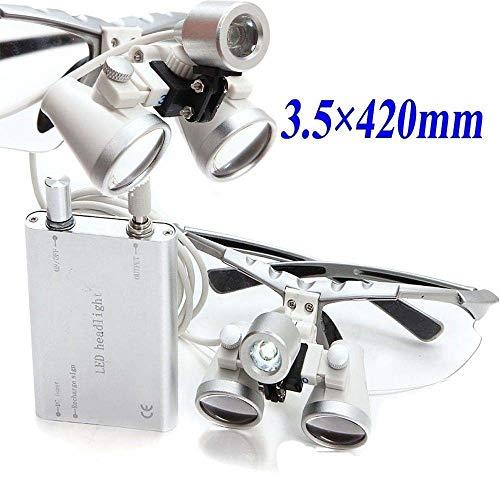 Supershu Dental Surgical Binokularlupen und Stirnlampen Chirurgische Lupe Led 3.5x 420mm