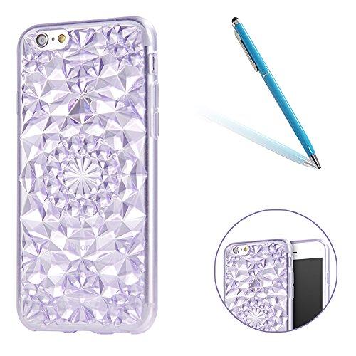 iPhone 6Plus Caso Cassa,iPhone 6sPlus Back Cover, CLTPY Marvel Colorato Belle Particolari 3D Cristallo Modello del Diamante Disegni Shell Skin in Liscio Smooth Toccare Gomma,Resistente Urti Antiurto C Viola