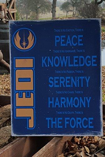 Norma Lily Halloween Prop Country Primitiv Distressed Plakette Holz Print Schild 11,5x 14,5Star Wars, Jedi Creed Schild