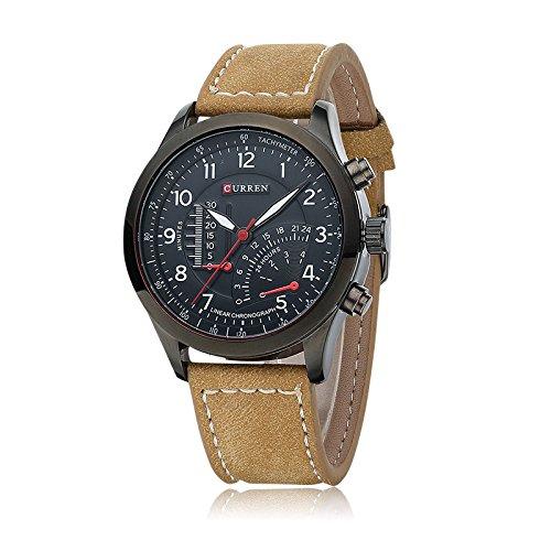 Business Burst Veste imperméable montres montre à quartz sport en extérieur en cuir mat