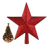 NICEXMAS Weihnachtsbaum Stern - Weihnachtsstern Weihnachtsbaumspitze Baumspitze Spitze Stern Baumschmuck Weihnachtsbaum Gold (23cm) (11.5cm, Rot)