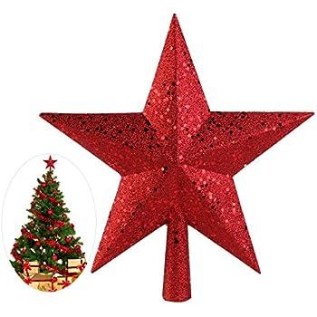 Weihnachtsstern Für Tannenbaum.Nicexmas Weihnachtsbaum Stern Weihnachtsstern Weihnachtsbaumspitze Baumspitze Spitze Stern Baumschmuck Weihnachtsbaum Gold 23cm 11 5cm Rot