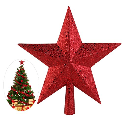 NICEXMAS Christmas Tree Toppers Star Treasures Glittered Decoration Ornament, 11.5 cm (Red) by NICEXMAS