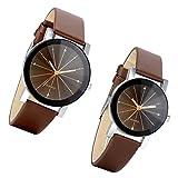 Lancardo 2pcs Herren Damen Freundschafts Armbanduhr, Casual Analog Quarz Zeitloses Design klassisch Uhr für Lieben Valentinstag Paar Paare Geschenk, Leder Armband, braun