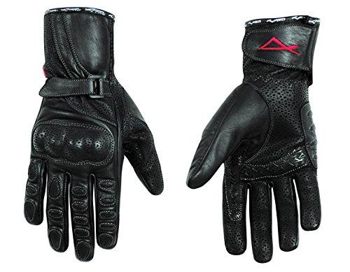 guanti da moto donna A-Pro Guanti in pelle da donna moto scooter Protezioni in pelle di vitello nero L