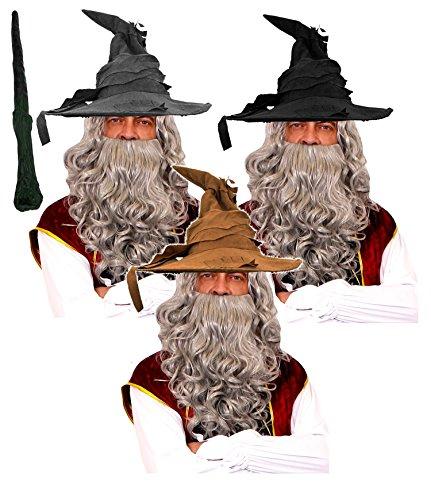 erer KOSTÜM VERKLEIDUNG Set ZUBEHÖR DER MAGISCHEN Art Unisex Fasching KARNEVA+ ZAUBERSTAB=Hut IN Farben=PERÜCKE MIT BART IN 5 Farben= GRAUE PERÜCKE+SCHWARZER Hut ()