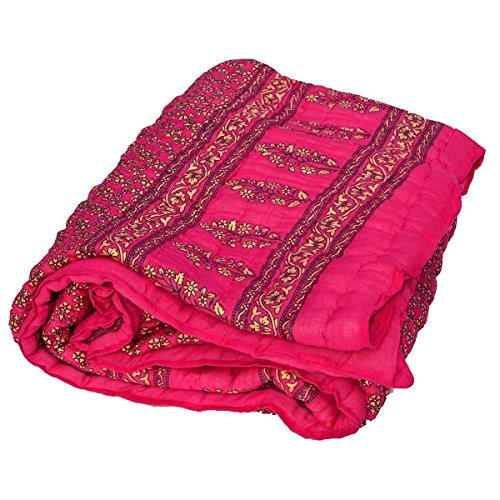 Shopbite Jaipuri World Famous Light weight Pure Cotton Traditional Rajasthani Gold Print Pink Colour Reversible Double Bed Quilt /Razai / Rajai