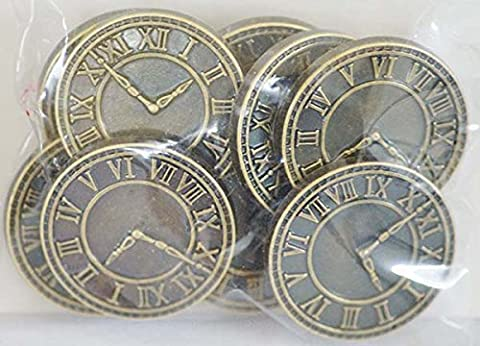 Steampunk-Vintage-Buttons-Craft-Dressmaking-Sewing-Haberdashery STEAMPUNK CLOCK FACE BUTTONS (Pack of