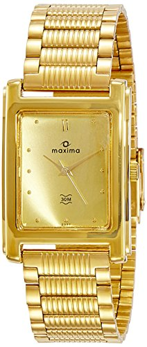 Maxima Formal Gold Analog Gold Dial Men's Watch - 02332CPGY image