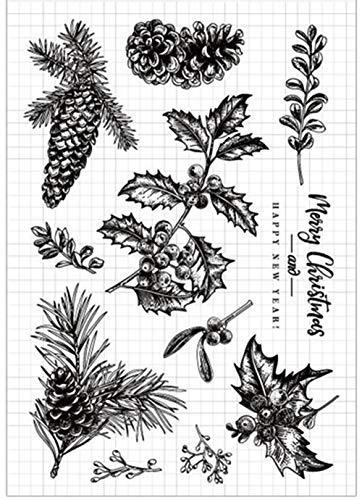 Frohe Weihnachtsdeko, Weihnachts-Blätter, Bäume, Gummi, transparenter Stempel, Scrapbook/Foto-Dekoration, zum Basteln von Karten -