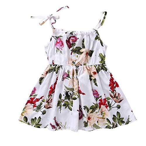 Livoral Mädchen Prinzessin Blume Sonnenblume Meer Kleid Kind Baby Beach Party Freizeitkleidung(Weiß,100) (Party Stadt Kostüme Für Jungen Und Mädchen)