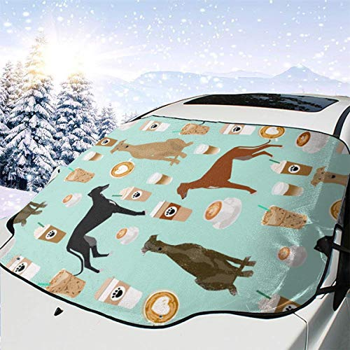 Cute Greyhounds Mint Coffee Fabric Best Coffees Latte Fabric Cute Coffee Fabric Coffee Fabric Rescue Greyhounds Fabric Car Front Windshield Cover Foldable Sunshade Fits Most Cars, Trucks, SUV's -