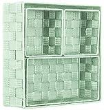 Brandsseller, contenitore decorativo portaoggetti, effetto rattan/intrecciato, set da 4 pezzi menta