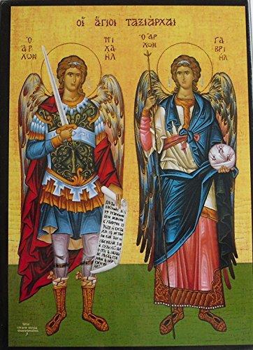 Madera icono de la Archangels Michael y Gabriel. St Michael Icon. San Miguel. Madera icono 17cms x 13cms. Ángeles Guardianes de la. St Joseph Catholic giftshop en Amazon.