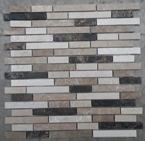 Naturstein Matte Fliesen 30x30 cm 8 mm Mosaik Braun Beige Mix Marmor M019 - Marmor-matte