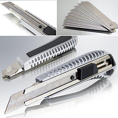 10 Alu Cuttermesser Teppichmesser Kartonmesser Aluminium inklusive 10 Stahl Ersatzklingen 18mm