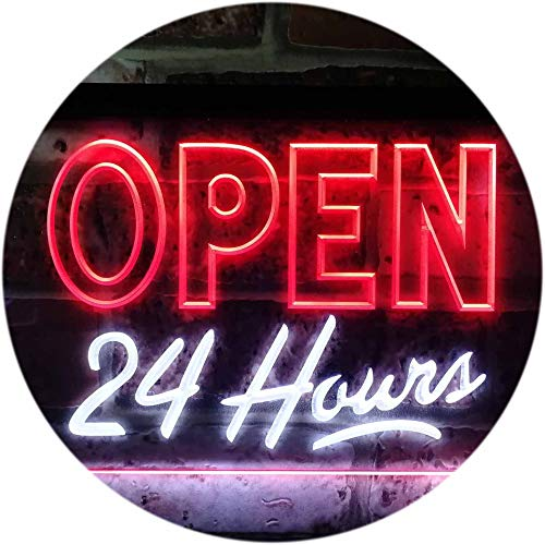 ADVPRO Open 24 Hours Display Dual Color LED Barlicht Neonlicht Lichtwerbung Neon Sign White & Red 300mm x 210mm st6s32-i0035-wr