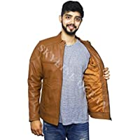 SKY LINE OCEAN GENUINE LEATHER JACKET (100% PURE LEATHER) FOR MEN CAMEL BROWN