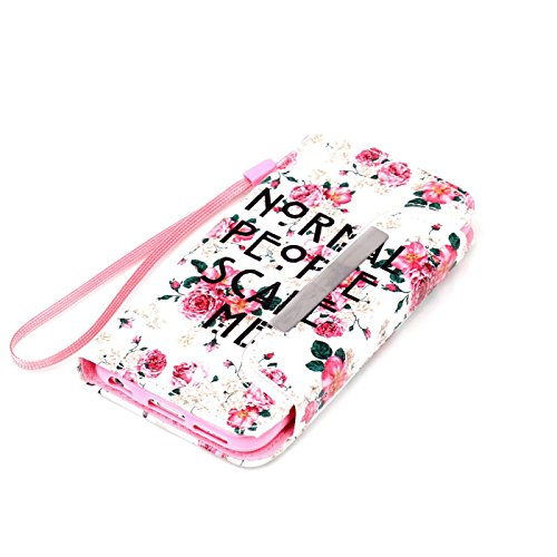 Ancerson Multi-Colored PU Pelle Patta Borsa Custodia Protettiva per Apple Iphone 6 4.7 pollici inch In Pittura ad Olio Stil Colorful Painting Flip Case Custodia in pelle sintetica custodia cover con f weiß Blume