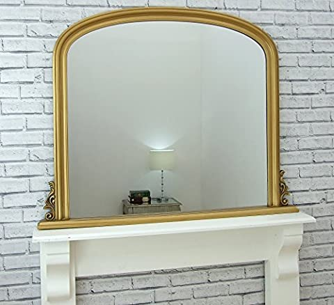 Toronto Gold Leaf Wall Mirror Arched Overmantle Dome Top 3ft 11in