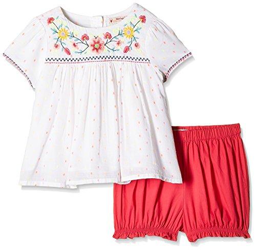 Nauti Nati Baby Girls' Clothing Set (NSS16-975_White and Red_18-24M)