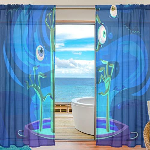 rty Voile Tüll Fenstervorhänge, 2 Panels Set für Home Küche Schlafzimmer Wohnzimmer, 55 W X 78 L Zoll ()
