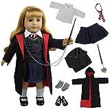 ZITA ELEMENT Cosplay Puppenkleidung Magic Mantel Hemd Krawatte mit Schuhe kleider Set für 18 zoll American Girl und die anderen 45-46cm Puppen für Karneval und Halloween Deko