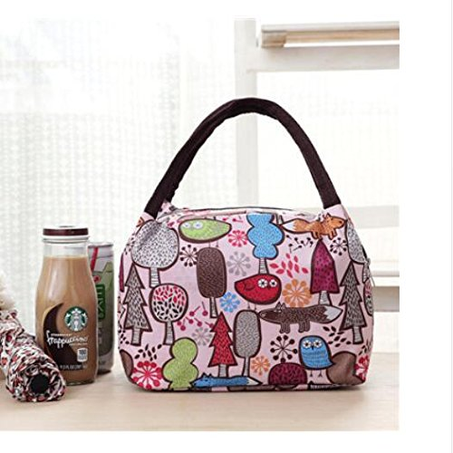 Rieovo 2017pranzo borse per donne floreale a strisce contenitore termico per pranzo picnic, Kids uomo Cooler Tote Pink Forest