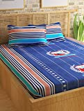 Story@Home Forever Premium 240 TC Cotton Double Bedsheet with 2 Pillow Covers - Blue