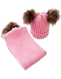 MagiDeal Cappello da Crochet Bobble Di Pom Pom Sci Cappellini Berretti da  Caldo Inverno con Sciarpa 807be93b30f2