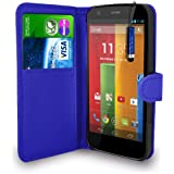 Motorola Moto G - Leather Wallet Flip Case Cover Pouch + Free Screen Protector & Mini Touch Stylus Pen + Polishing Cloth (Blue)