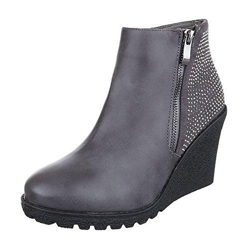 Ital-Design Keilstiefeletten Damen Schuhe Plateau Keilabsatz/ Wedge Keilabsatz Reißverschluss Stiefeletten Grau, Gr 38, Zh739-