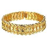 Pulsera chapada en oro 18 quilates, con enlaces de cadena, de 21cm, para hombre