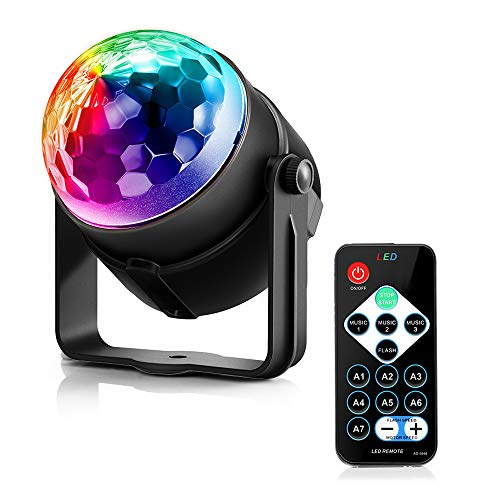 ting Disco Ball Party Strobe Light 3W RGB LED Stage Lights for Christmas Home KTV Wedding Show mit Remote ()