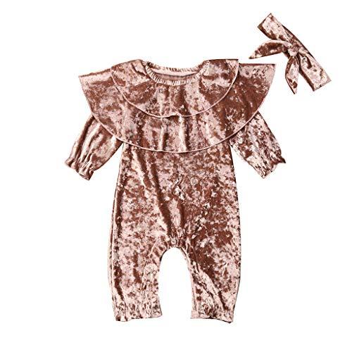 Livoral Neugeborenes Baby Mädchen Jungen solide Rüschen Strampler Freizeitkleidung Overall(Rosa,6-12 Monate)