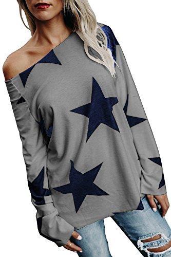 Damen Tops Oberteile lang Pullover mit Sternenmuster Schrägstrich Schulter Trägerlos T Shirt Langarmshirt Lässige Casual Basic Grau 42-44/XL