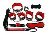 Stillshine Plüsch Leder Sex Werkzeuge Restraint System Fetisch Bondage Kit von 7 Stück (Schwarz Rote)
