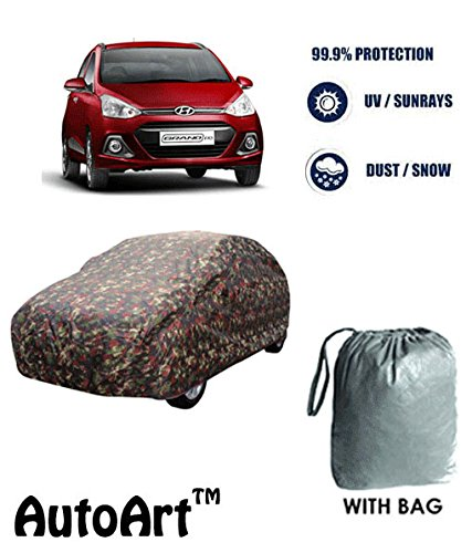AutoArt Military / Jungle Print Car body cover with Storage Bag Free For Hyundai Grand i10 (Tirpal)  available at amazon for Rs.799