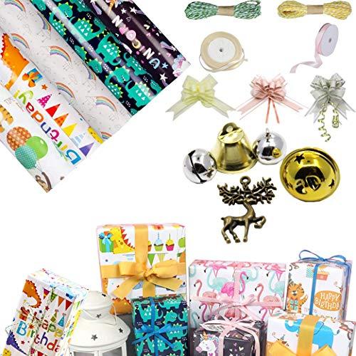 sfesnid Geschenkpapier für Kinder (50 X 70CM Pro Rolle) + Papierseil + Satinband Verpackung DIY für Kinder Geschenk Geburtstag Hochzeit Taufe Valentines Weihnachten Geschenkverpackung