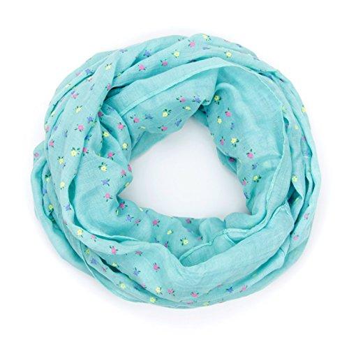 MANUMAR Loop-Schal für Damen | feines Hals-Tuch in hellblau mit Blumen Motiv als perfektes Frühling Sommer Accessoire | Schlauch-Schal | Damen-Schal | Rund-Schal | ideales Geschenk für Frauen
